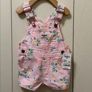 OshKosh Pink Flowered Overall Shorts